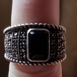 Judith Jack sterling silver and black onyx ring